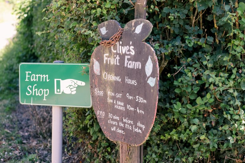 Clive's Fruit Farm entrance in Upton on Severn in Worcestershire