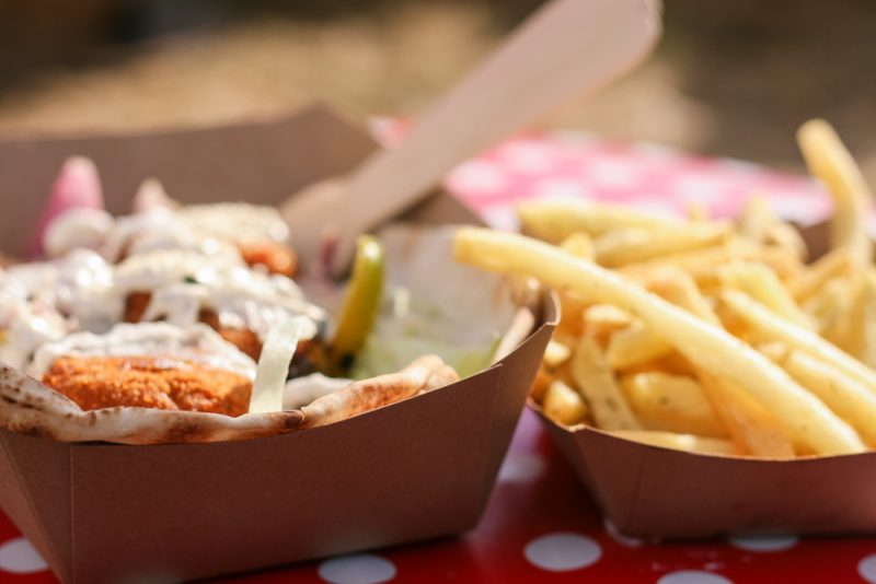 The Allotment Food Stall at Timber Festival 2018 - a sweet potato fritter wrap with salt and thyme fries