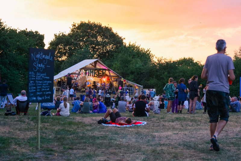 Sunset at Timber Festival over the Nightingale Stage