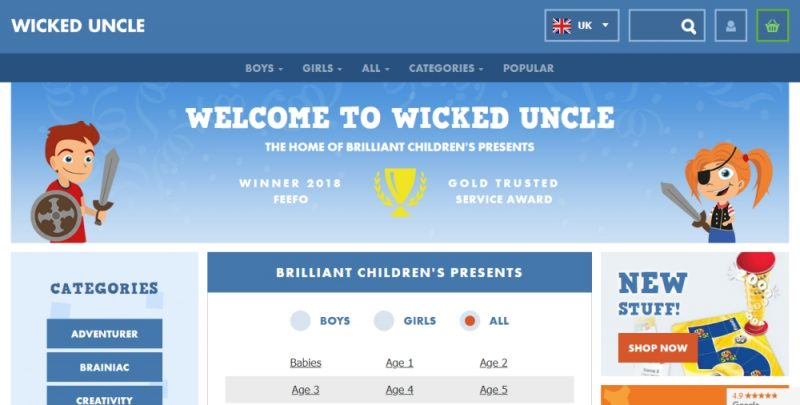 Screenshot of the Wicked Uncle gift buying website
