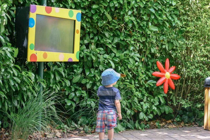 Mr Tumble's interactive screens in his garden