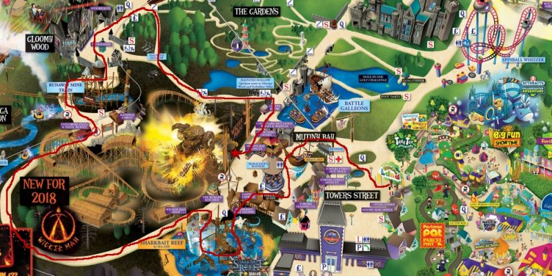 Alton Towers Map with our walk to try and find The Wicker Man ride