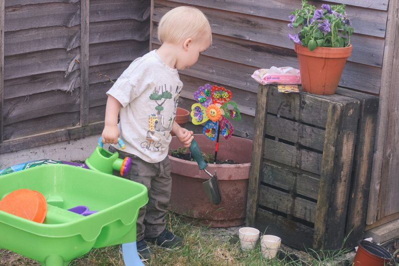 Learning how to garden with Pickle thanks to Johnson's Baby