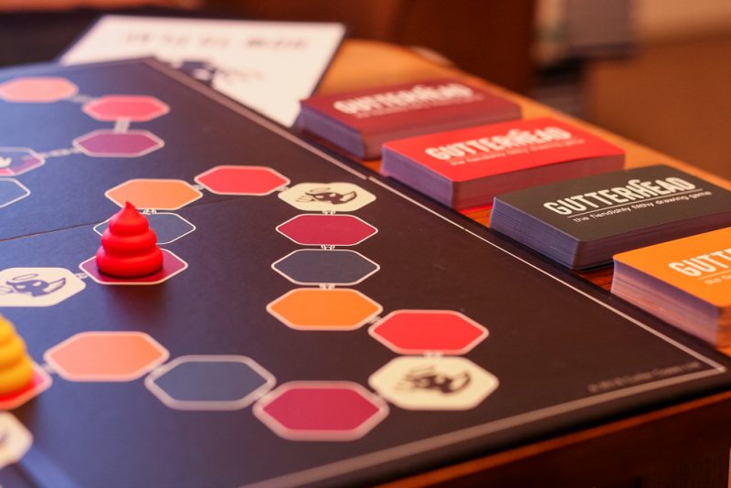 The board set up, mid-game.