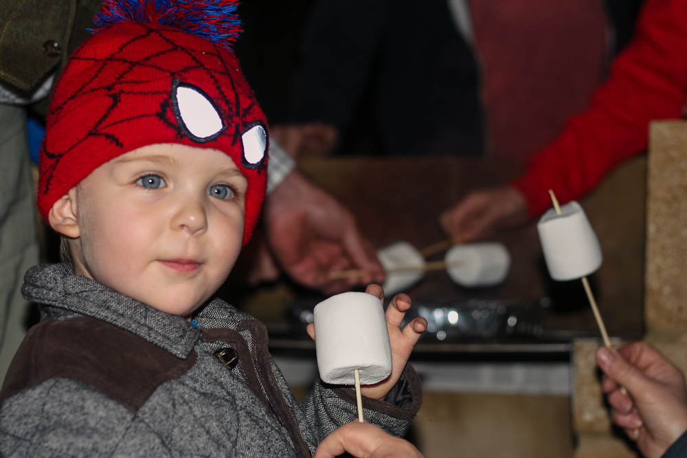 Pickle enjoying toasting marshmallows outside at Center Parcs in a Spiderman hat