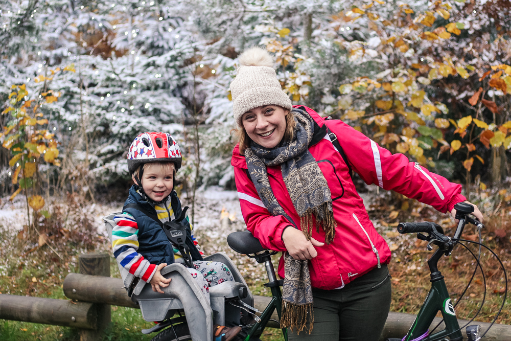 Mommy and Pickle on our bikes at Woburn Center Parcs Winter Wonderland