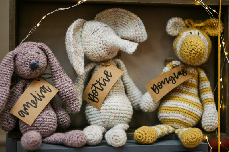 By Charlotte's hand knitted animals
