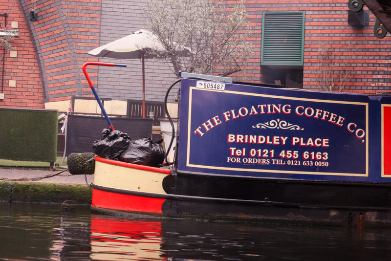 The Floating Coffee Company narrowboat in Brindley Place