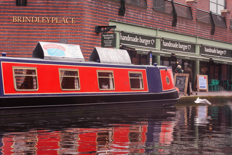 The Floating Coffee Company narrowboat moored at Brindley Place