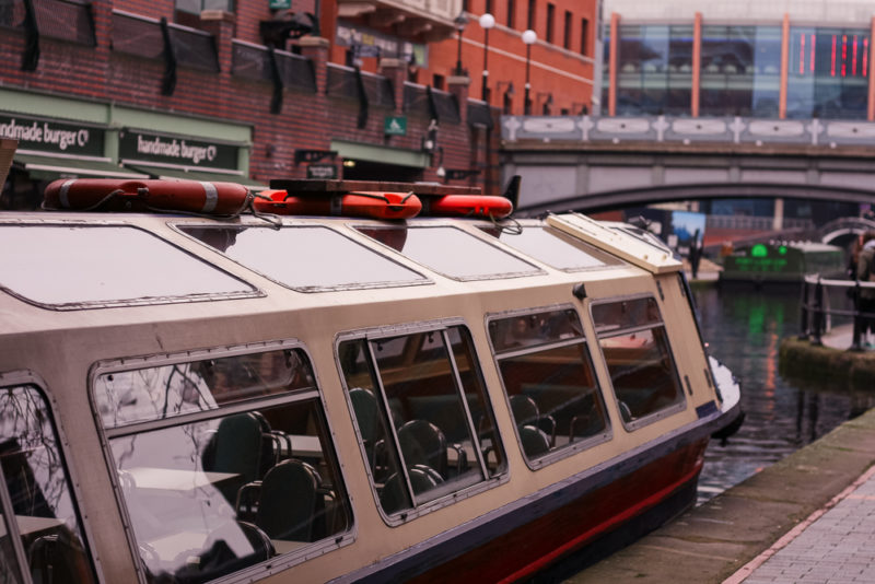 The Sherbourne Wharf Canal Boat outside the ICC Birmingham in Brindley Place