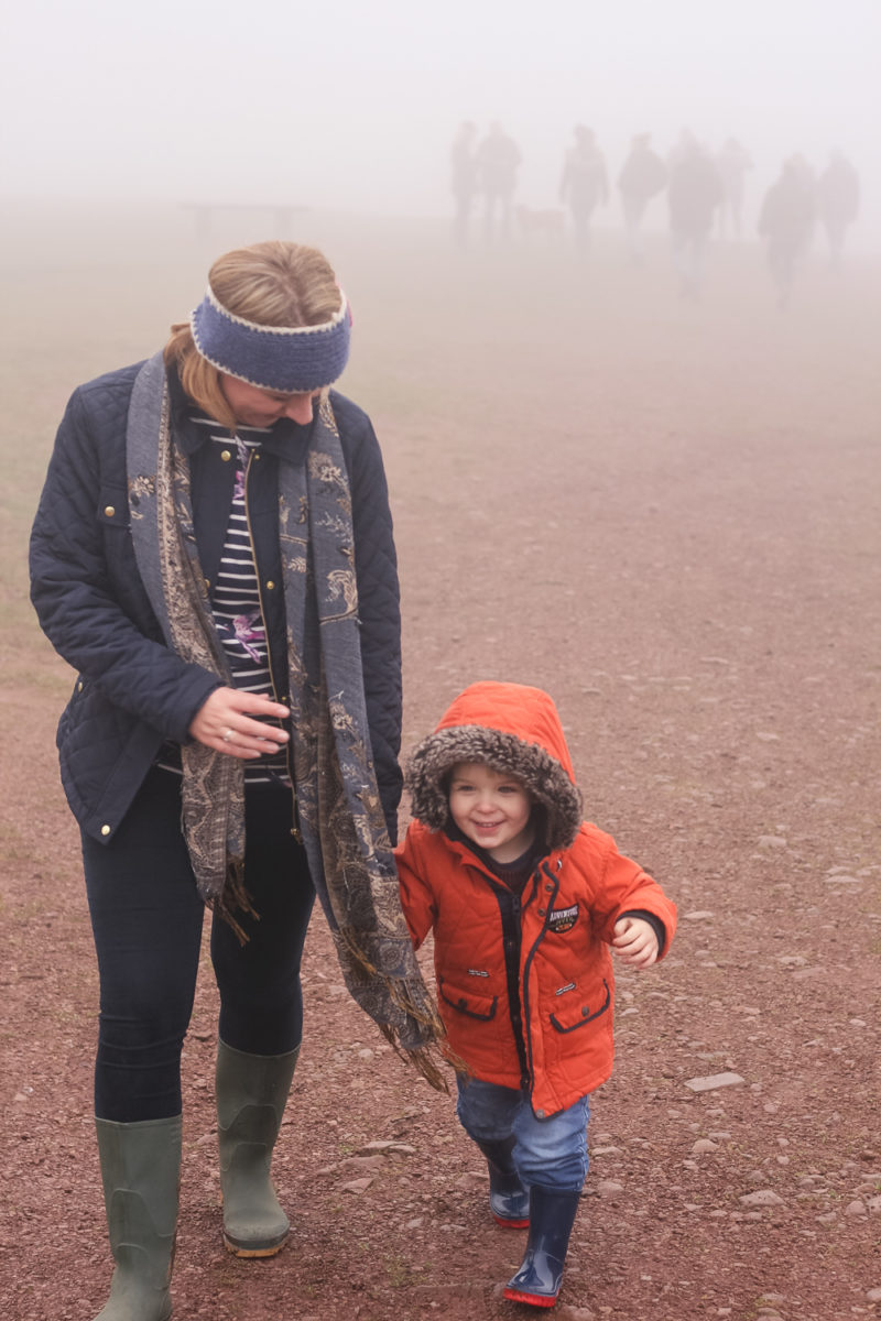 Mommy and Pickle having fun walking up the Clent hills in the fog
