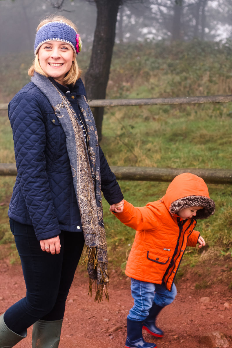 Mommy and Pickle walking up the Clent hills