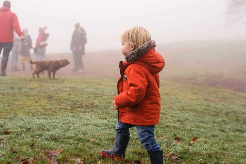 Walking up the Clent Hills in the fog