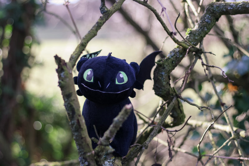 Toothless medium plush hiding in some twigs
