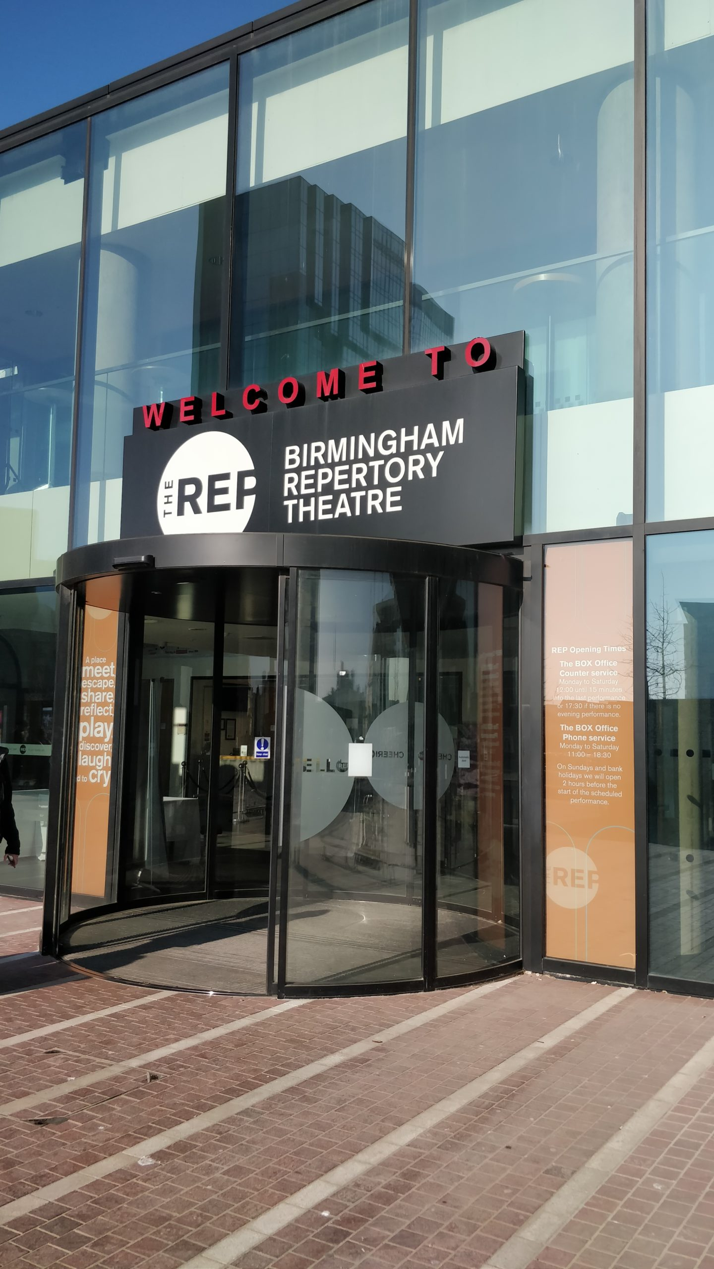 The outside doors of The Birmingham REP in Birmingham