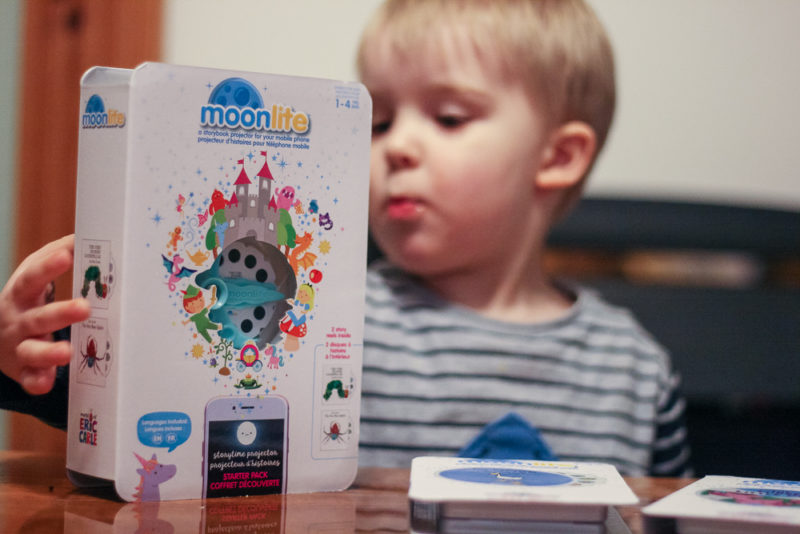 Pickle out of focus behind the Moonlite Projector packaging