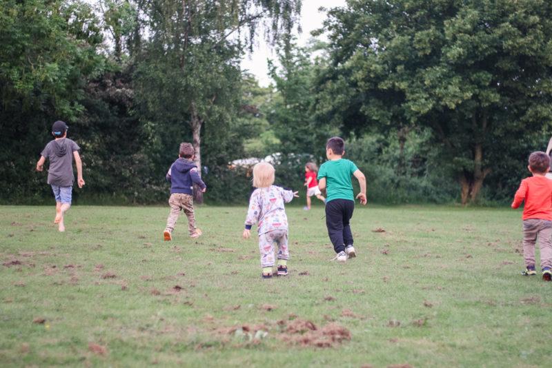 Running around with new friends at Hogsdown Farm