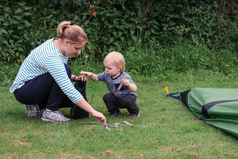 Putting the tent away with Pickle at Hogsdown Farm
