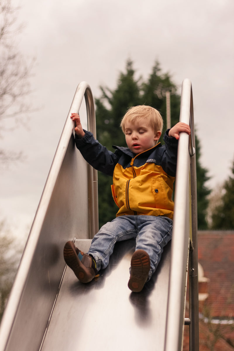 On the slide at Birmingham Botanical Gardens