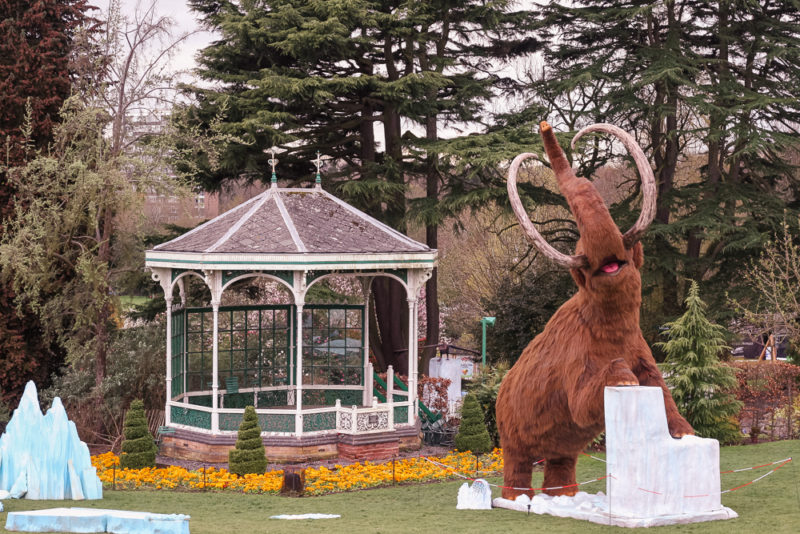 Ice Age Exhibition at Birmingham Botanical Gardens - the woolly mammoth by the bandstand