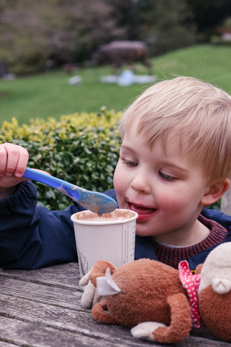 Enjoying a hot chocolate outside at the Botanical Gardens