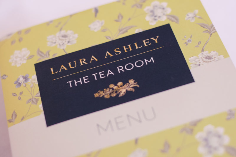 Close up of the menu at Laura Ashley The Tea Room