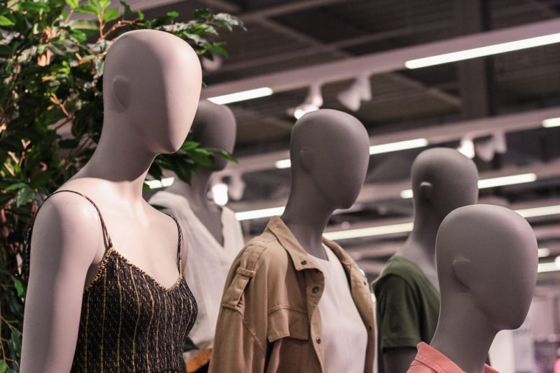 Close up photo of mannequin heads in Marks and Spencer Longbridge