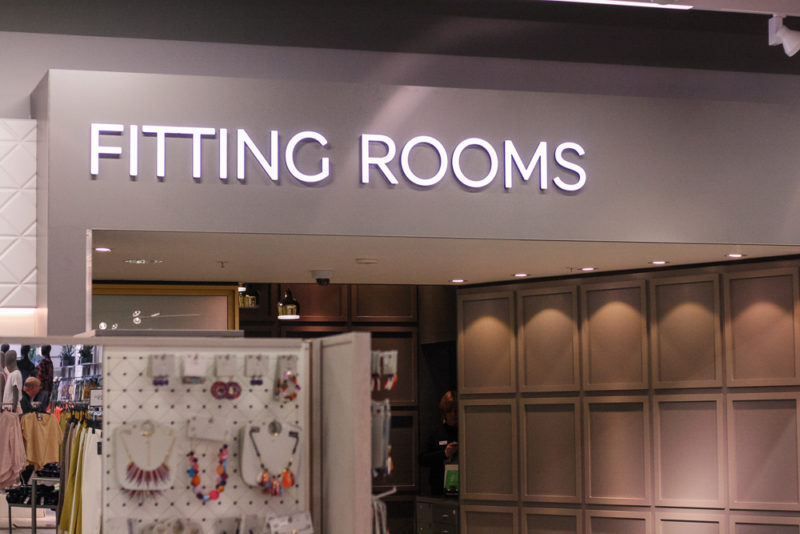 The Fitting Rooms sign at Marks and Spencer