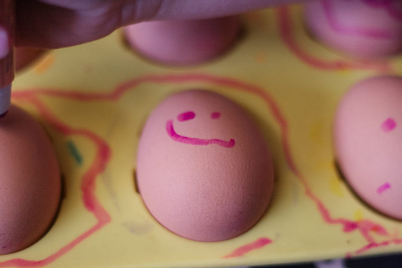 Little smile painted on an Easter Egg