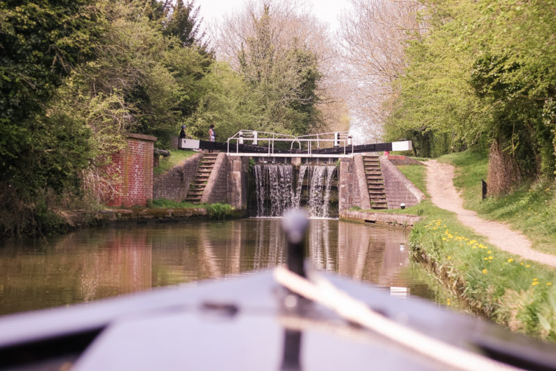 Approaching a lock on the Grand Union Canal