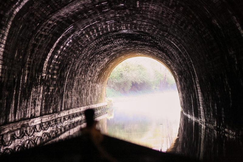 The 2km long canal tunnel at Braunston.