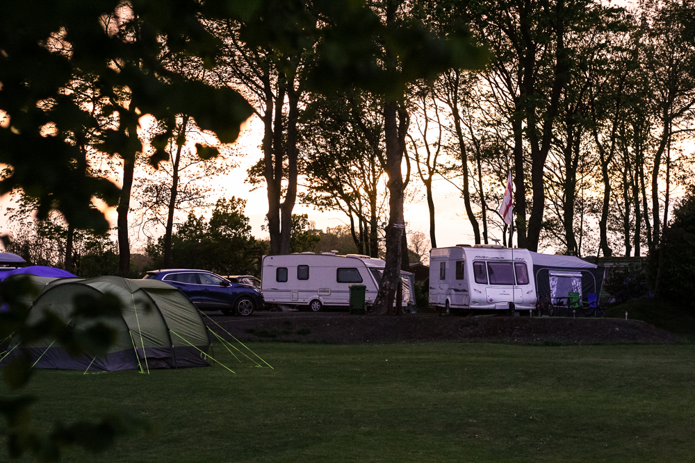 The campsite at sunset