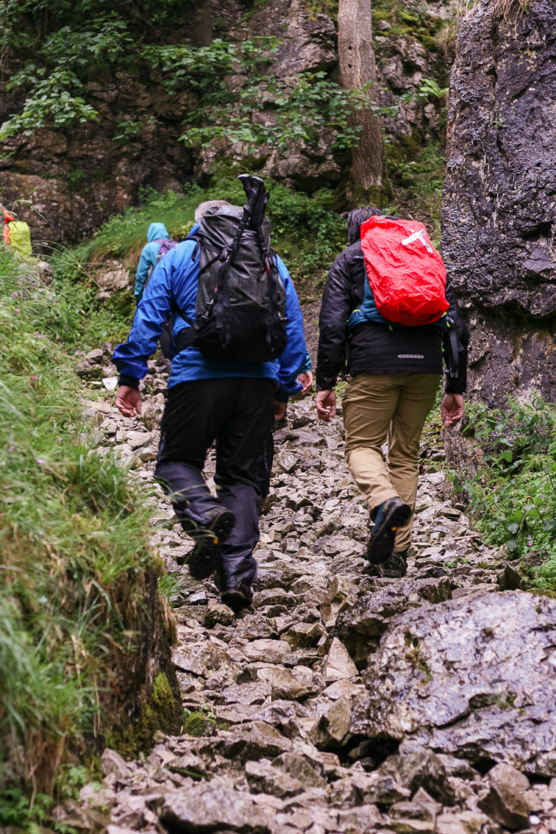 Walking up a rocky pathway