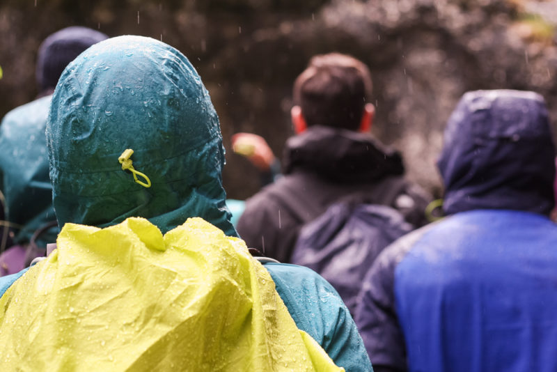 A bit of rain and damp ensured everyone kept their hoods up