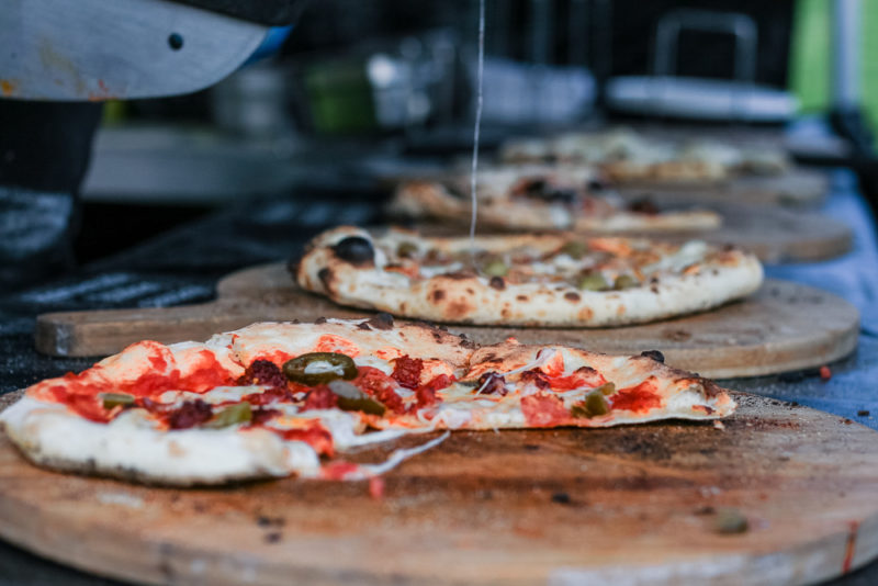 Wood fired pizzas at The North Face UK Outdoor Cinema experience