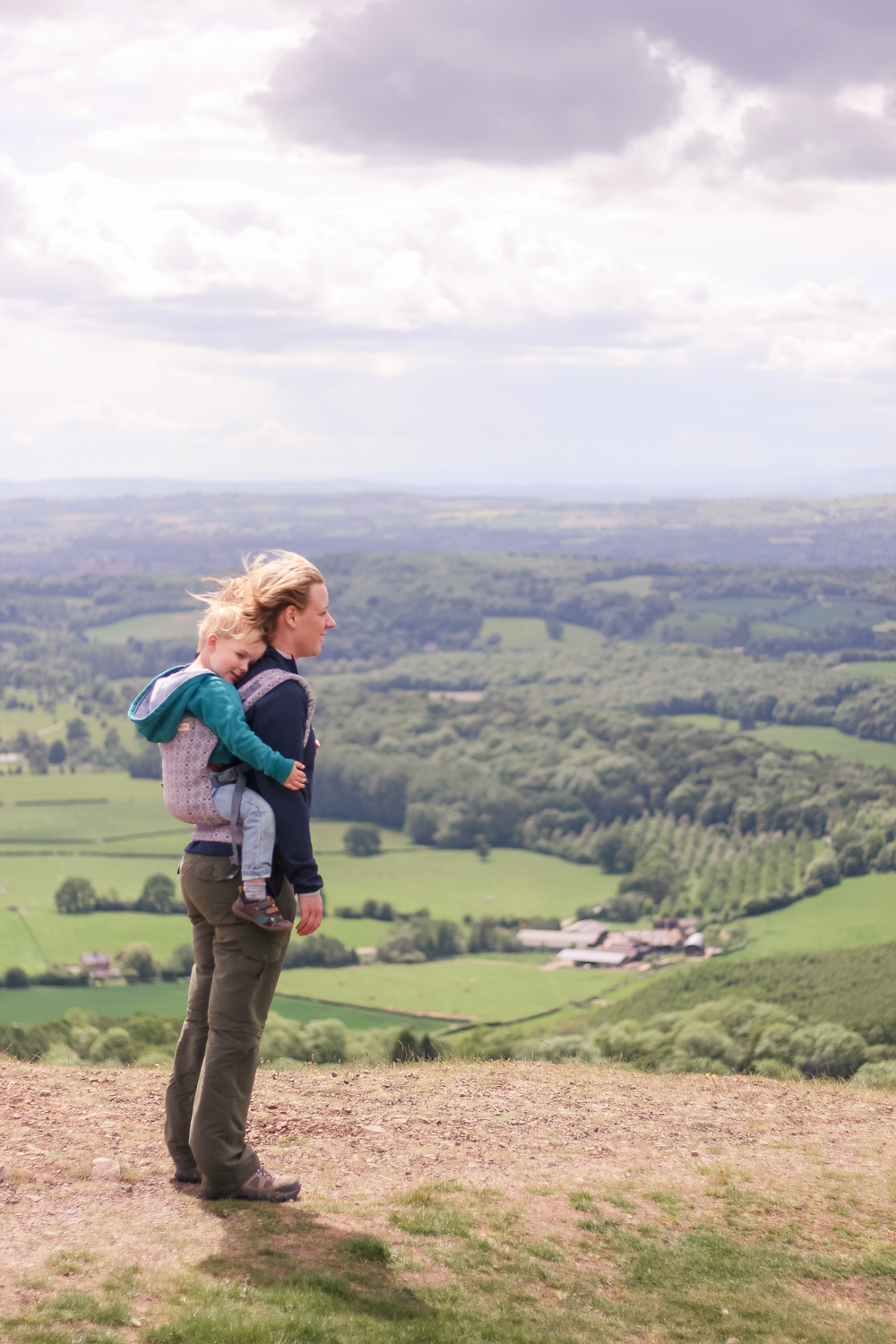 Walking along the Malvern Hills with Pickle in a babycarrier from SlumberRoo