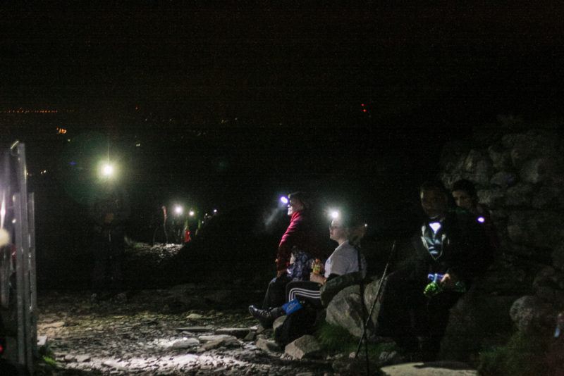 Walking in the dark up Mount Snowdon on the Llanberis path