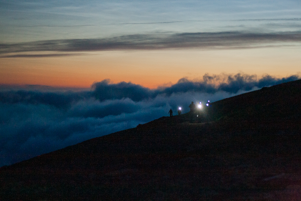 Walking in the dark, just before sunrise on Snowdon Llanberis path
