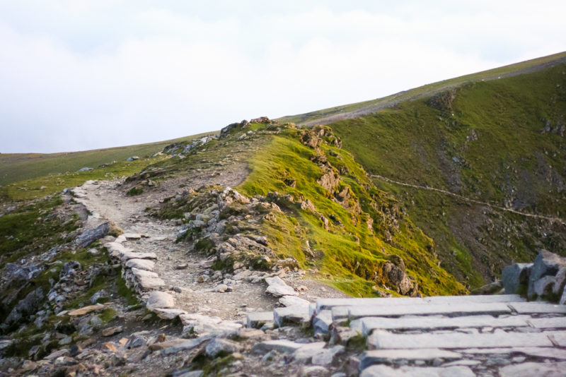 The path down from the summit of Mount Snowdon