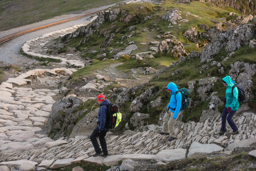 My Mom and Pat being guided by Roger from Large Outdoors heading down Snowdon just before Sunrise
