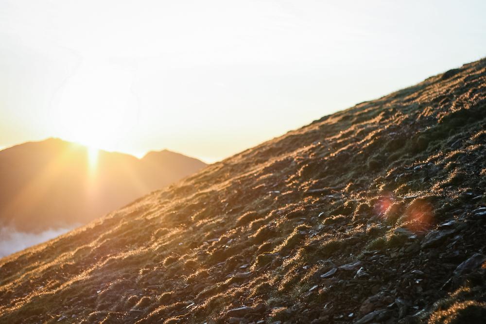 Sunrise on Mount Snowdon walking down the Llanberis path