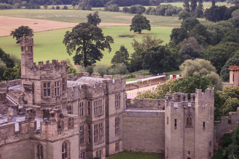 A view of Warwick castle from the top of one of the towers