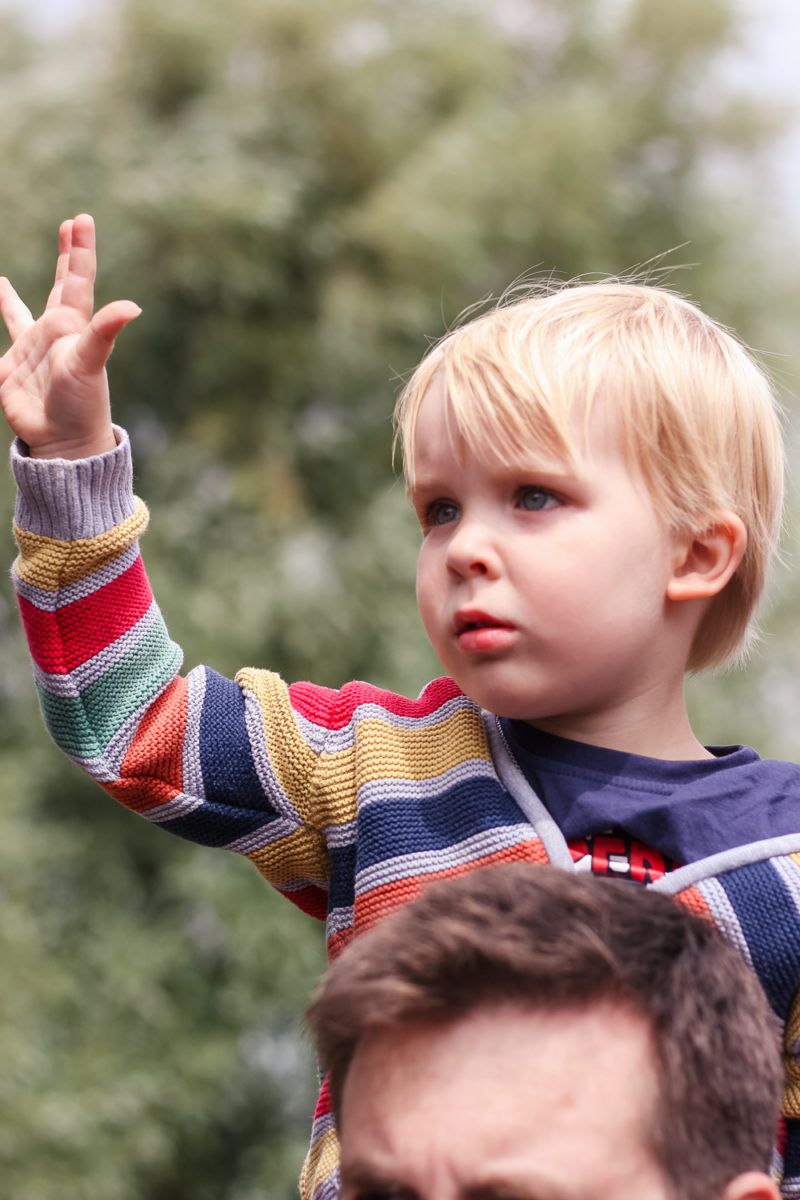 Pickle holding his hand up to cheer for the House of Lancaster at the jousting