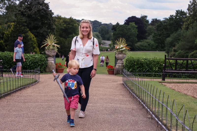 Walking through the peacock garden at Warwick Castle