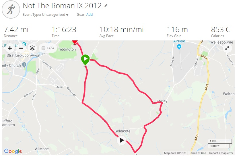 Screenshot of my Garmin Connect stats from the Not the Roman IX run in Stratford upon Avon