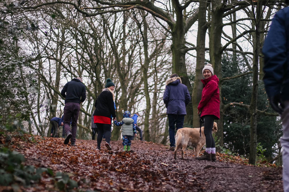 Nanny Pol with Guide Dog Yosie and the family walking up the Clent Hills on Boxing Day
