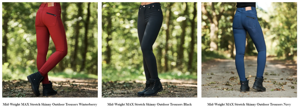 Screenshot of the Mid-weight MAX Stretch outdoor trousers from ACAI Activewear