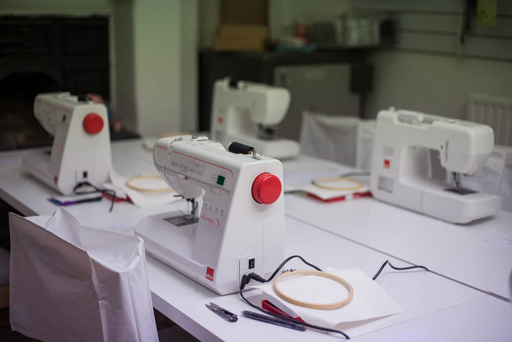 The sewing machines at Sew Confident in Birmingham at machine doodling class