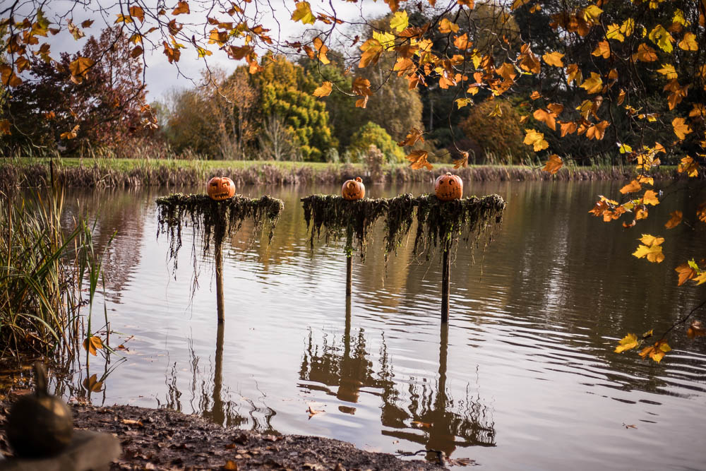 Three spooky pumpkins on spikes at the Bodenham Arboretum Pumpkin Walk