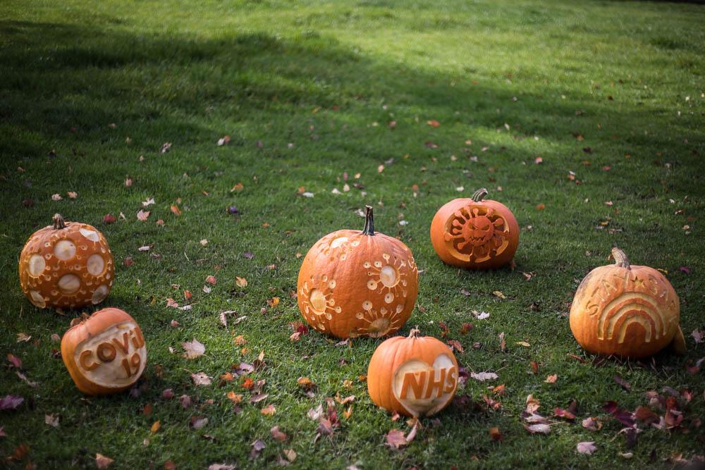 NHS carved pumpkin at the Pumpkin Walk at Bodenham Arboretum